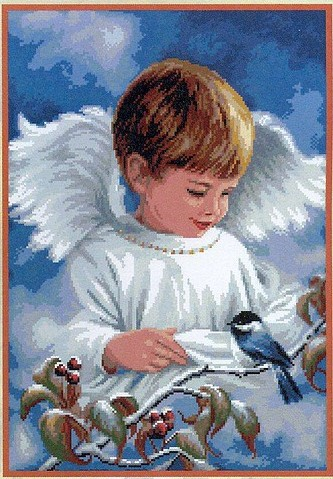 Вышивка мальчик-ангел