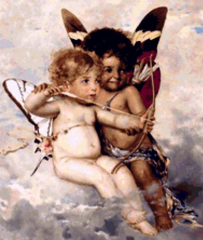 вышитые крестом ангелы - проказники, схема: http://igolo4ki.net/angeli-prokazniki/
