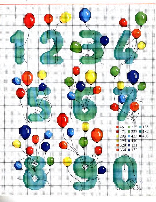 Схема вышивки чисел крестиком 69