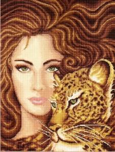девушка с леопардом