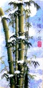 Бамбук в снегу